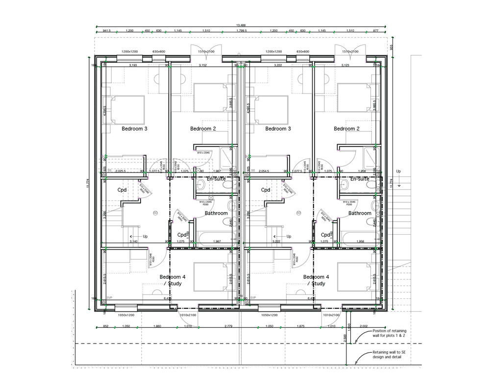 Pair of 4 Bedroom, Semi-detached (Ground Floor Plan)